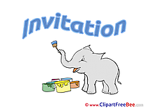 Elephant paints Invitation Invitations Postcards