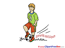 Football Player printable Greeting Cards Invitations