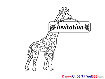 Giraffe free Postcards Invitations