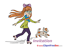 Girl with Dog Invitations free eCards download