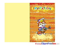Guitar Fox Invitations Greeting Cards for free