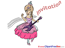 Guitarist printable Invitations eCards