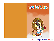 Lion Greeting Card download Invitations