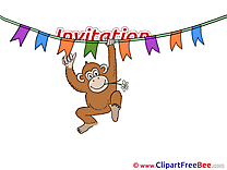 Monkey Postcards Invitations for free