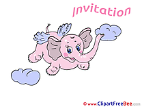 Pink Elephant Postcards Invitations for free