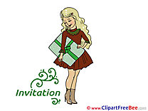 Present Girl Invitations Greeting Card for free