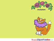 Roses Cat Invitations Greeting Cards for free