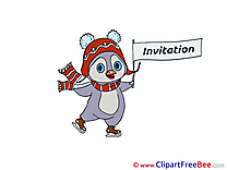 Skates Penguin download Wishes Invitations Postcards