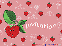 Strawberry Postcards Invitations for free