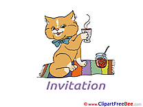 Tea Cat download Invitations Greeting Cards
