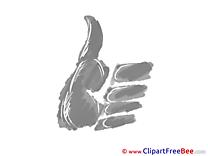 Grey Clip Art download Thumbs up