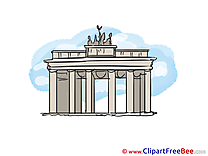 Brandenburg gate Berlin printable Illustrations for free
