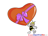 Bee Gift Heart download Valentine's Day Illustrations