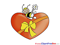 Bee Heart Clipart Valentine's Day Illustrations