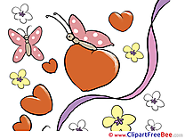 Butterflies Flowers Valentine's Day Illustrations for free