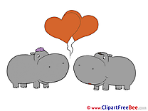 Hippos Balloons download Valentine's Day Illustrations