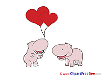 Hippos Balloons Valentine's Day free Images download
