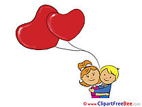 Kids Balloons Pics Valentine's Day Illustration