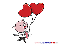 Piggy Balloons Pics Valentine's Day free Cliparts