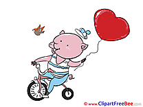 Piggy Bicycle printable Illustrations Valentine's Day