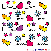 Snowflakes Hearts  download Valentine's Day Illustrations
