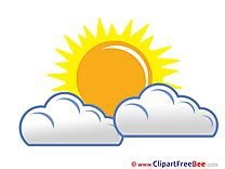 Beautiful Weather Clouds Sun Clipart free Illustrations