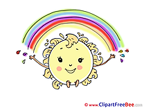 Rainbow Sun Cliparts printable for free