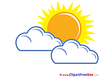 Warm Weather Sun Clouds Clipart free Illustrations
