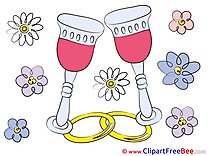 Glasses of Wine Flowers free Cliparts Wedding