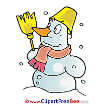 Broom Snowman free Illustration Winter