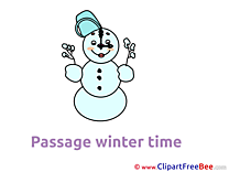 Clipart Snowman Clock Winter Illustrations