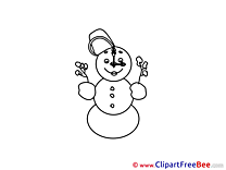 Clock Snowman printable Illustrations Winter