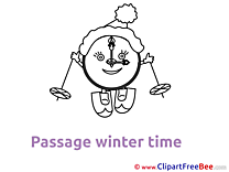 Ski Clock free Illustration Winter