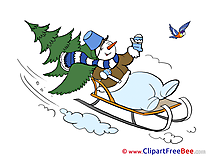 Sledge Snowman free Cliparts Winter