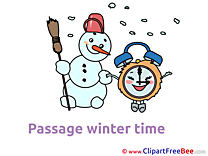 Snowman with Clock download Clipart Winter Cliparts