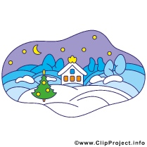 Village in Winter Clipart Image gratis