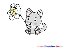 Flower Cat Clip Art download for free