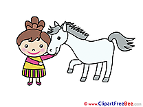 Girl Horse Pics download Illustration