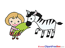 Girl with Zebra download printable Illustrations