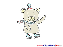 Skates Bear Cliparts printable for free